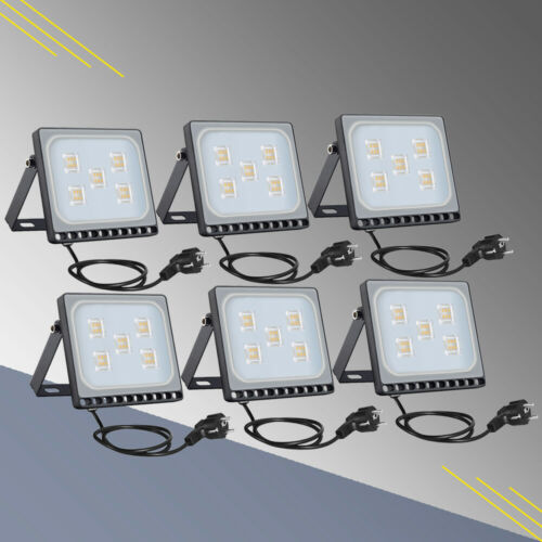 6X 30W LED Flutlicht Fluter Garten Mit Stecker Ultradünn Außen Strahler Warmweiβ