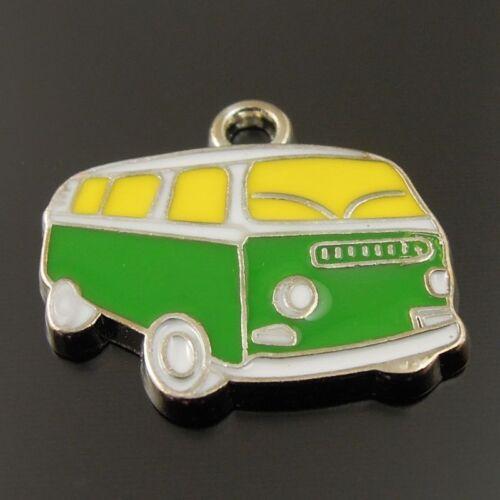 Wholesales New Arrived Enamel Charm Cute Green Bus Charm Pendant 20PCS