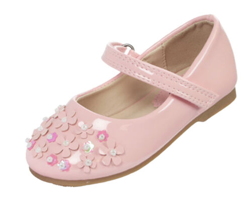 abcd270a1e5 Infant Girls Child Pink Patent PU Shoes Ballerina Flower Girl Party  Bridesmaid UK 9 Infant
