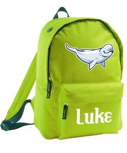Kid S Beluga Whale Backpack Bag Add Name Custom Boy Girl