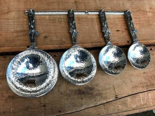 Crosby and Taylor Pewter Dragonfly Measuring Cups with Wall Strip New