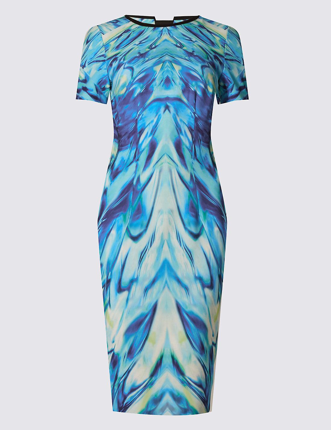 New M&S Per Una Speziale Mirror Print bluee Green Shift Dress Sz