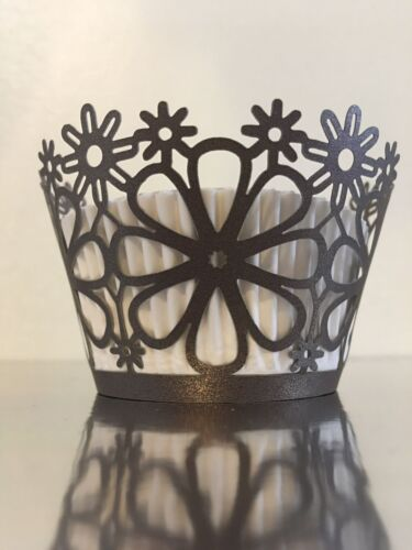 Flowers /& Leafs. 12 pcs Beautiful Brown Cupcake Wrapper