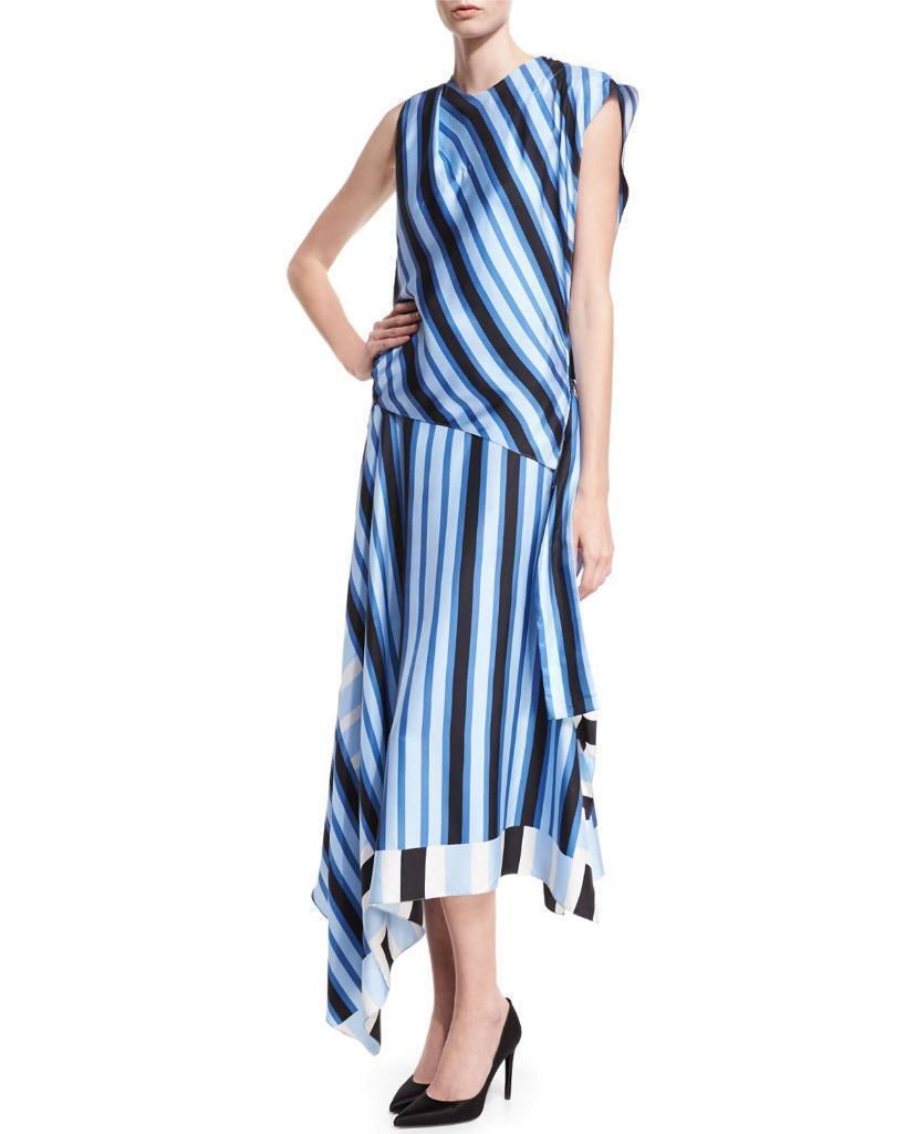 Diane von Furstenberg High-Neck Cap-Sleeve Bias-Cut Striped Satin Maxi  - (F)