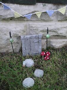 Image is loading Hand-Made-Fairy-Garden-Kit-with-Square-Fairy- & Hand Made Fairy Garden Kit with Square Fairy Door Stepping Stones ...