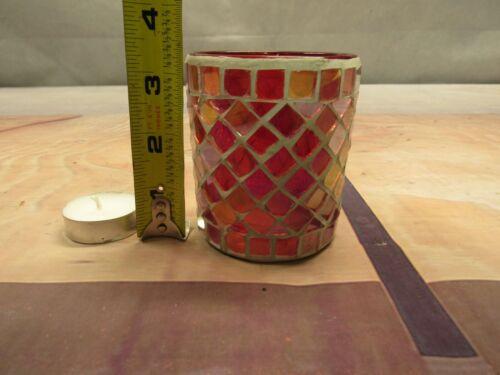 KIG JIALI GOLD DOUBLE GLASS VOTIVE MOSAICTEA LITE CANDLE HOLDER WEDDING  3X2.5