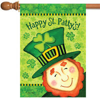 Toland - Happy St Patty's - Green Clover Leprechaun Patrick House Flag