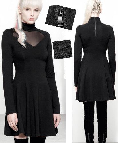 Robe gothique punk lolita cintré évasé voilage résille col montant mode Punkrave
