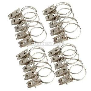 20Pcs Metal Curtain Pole Rod Voile Net Rings With Clips Hanging Hooks Holder HOT