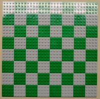 X64 Lego Plates 4x4 Lt Gray & Green Baseplates Makes Chess Game Board