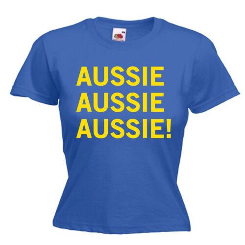 Australia Giorno Australiano slogan DONNA LADY FIT T SHIRT 13 COLORI TAGLIA 6-16