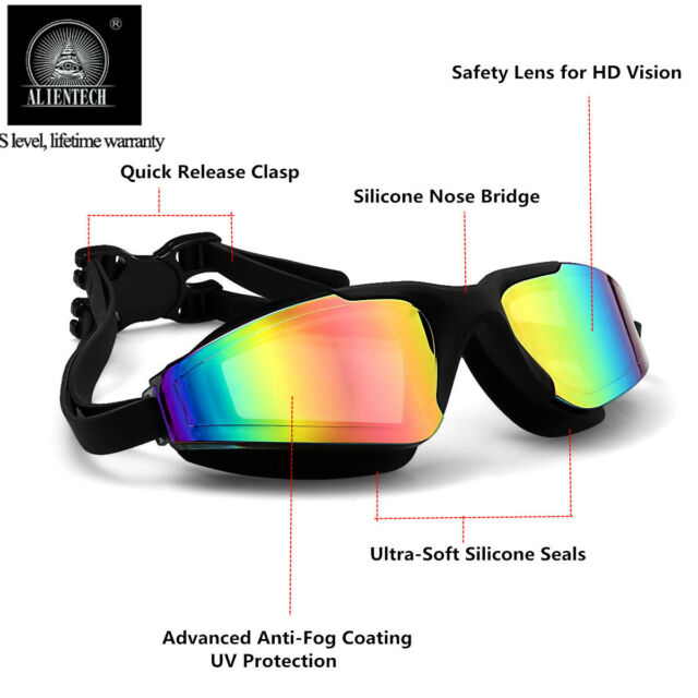 Swimming Goggles for Adult Mirrored Anti-Fog Waterproof UV Protection Lenses