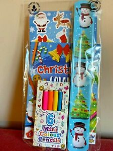 Kids Christmas Activity Pack Party Gift Bag Bracelet Colouring Book & Pencils