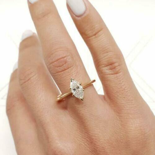 1.50 Ct Marquise Cut Diamond Solitaire Engagement Ring 14k Yellow Gold Over