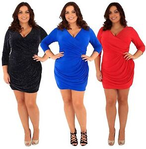 Details about New Ladies Plus Size Glitter Wrap Over Sparkle Drape Dress 18 24