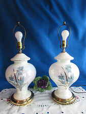 "PAIR WHITE IRIDESCENT BLUE FLOWERS GOLD ACCENTS GINGER JAR TABLE LAMPS 25"" 3 WAY"
