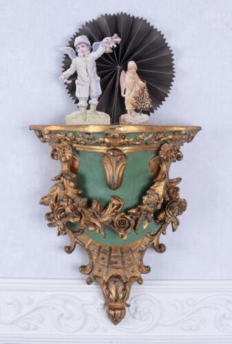 Baroque Console Murale Antique Support Mural Vintage Armoire Gold Bois Décoration