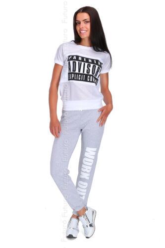 Ladies Sport Stylish Cuffed Pants WORK OUT Print Womens Jogging Joggers Sport DW