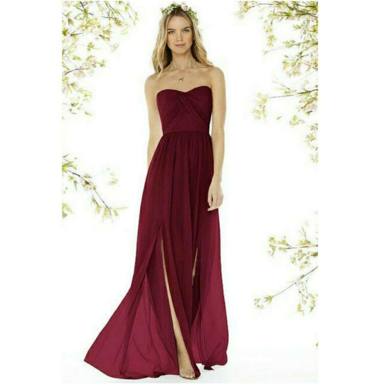NEW Social Bridesmaids Burgundy Matte Chiffon Strapless Gown Style 8159 Sz 2
