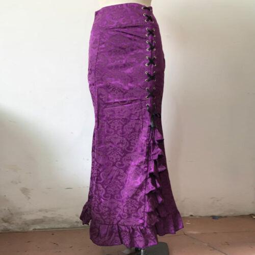 Women Retro Vintage Gothic Victorian Fishtail Skirt Steampunk Long Mermaid Dress