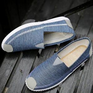 Men-Casual-Canvas-Loafers-Slip-On-Low-Top-Driving-Shoes-Moccasin-Comfy-gb