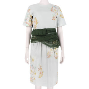 Dries-Van-Noten-Floral-Watercolour-Dark-Green-Sash-Waist-Sheath-Dress-FR40-UK12