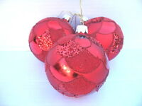 GISELA GRAHAM CHRISTMAS RED MATT/SHINY/GLITTER SCALLOPED GLASS BALL X 3