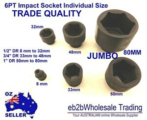 Impact Socket 1/2 3/4 1 inch DR 8mm to 80mm JUMBO Industrial Truck Machine HD