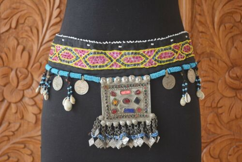 Etnico KUCHI AFGANO Gypsy Tribale Fusion ATS Belly Dance CYPRAEA Shell MONETE Cintura