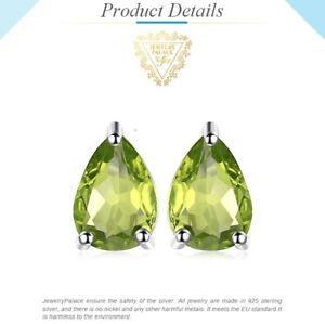 1-6ct-Genuine-Peridot-Stud-Sterling-Silver-Earrings-UK-Seller