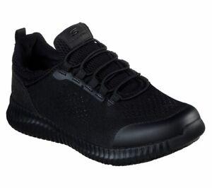 Skechers-Black-shoes-Women-Work-Memory-Foam-Slip-On-Comfort-Slip-Resistant-77260