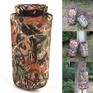 8L/15L Waterproof Dry Bag Pouch Camo Canoe Boating Kayaking Outdoor Camping Sack