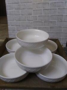 Totally-Today-Dinnerware-All-White-Lattice-Design-Set-of-7-Cereal-Soup-Bowls-6-034