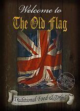 La vecchia bandiera TRADIZIONALE British PUB segno: stile VINTAGE ARREDAMENTO metallo segno