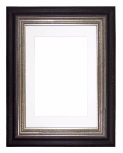 Wide Frame London Range Picture Frame Photo Frames With Mount   Black Distressed