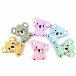 Food Grade Mini Koala Silicone Teether Beads DIY Baby Teething Pacifier Clip Toy