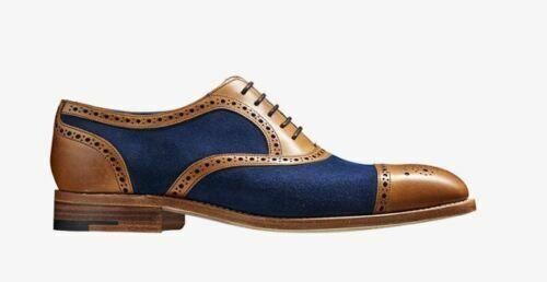 Handmade Herren Echtleder und Wildleder Oxford Brogue Toe Cap Formelle Schuhe