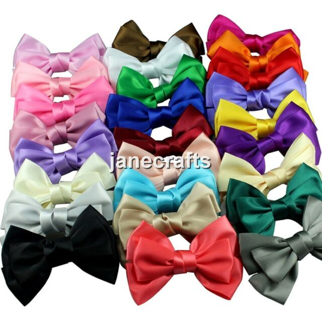 "22pcs 4"" Boutique Satin Ribbon Hair Bow Hair Clips Hairpin for Girl Mix 22 Color"