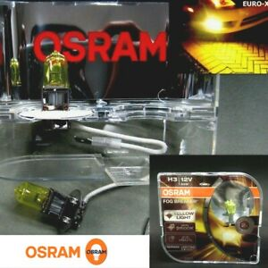 NEW-H3-OSRAM-12V55W-Fog-Breaker-2600K-Yellow-Fog-Spot-Light-Bulb-x-2-Agtc