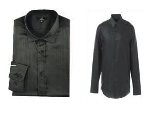 Estilo-Disenador-Negro-para-Hombre-Manga-Larga-Vestido-Inteligente-Camisa-Tamano-Mediano-Grande-XL