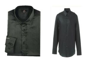 Mens-black-long-sleeve-smart-casual-dressy-shirt-Size-medium-large-XL-NEW