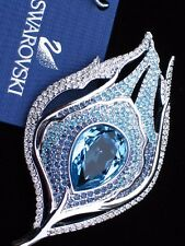NIB $199 SWAROVSKI SILVER BLUE BIRD PEACOCK FEATHER PIN BROOCH JEWELRY #1109355
