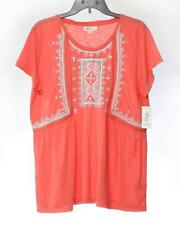 NWT Style /& Co Women/'s Party Season Babydoll Top Embroidered Short Sleeve Coral