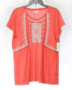 0abc5c563e3394 LT678 Style&co. Women's Plus Coral Embroidered Peasant Top Polyester ...