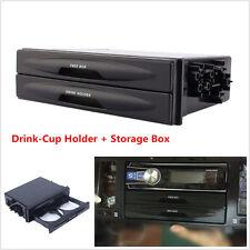 Universal Car Double Din Dash Radio Installation Pocket Cup Holder Storage Box