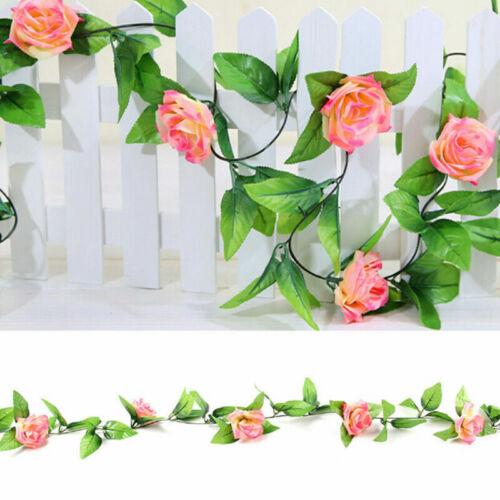 2 X 8Ft Artificial Rose Garland Silk Flower Vine Ivy Garden String Decor hot hhh