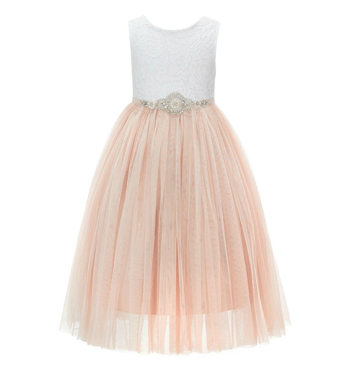 Scalloped V-Back Lace Flower Girl Dress Reception Dress Junior Bridesmaid Dress