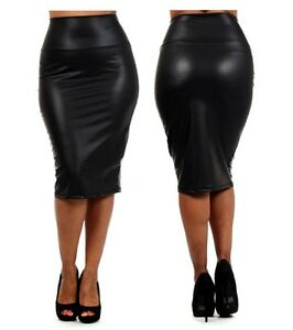 SEXY BLACK FAUX LIQUID LEATHER HIGH WAIST BELOW KNEE PENCIL MIDI ...