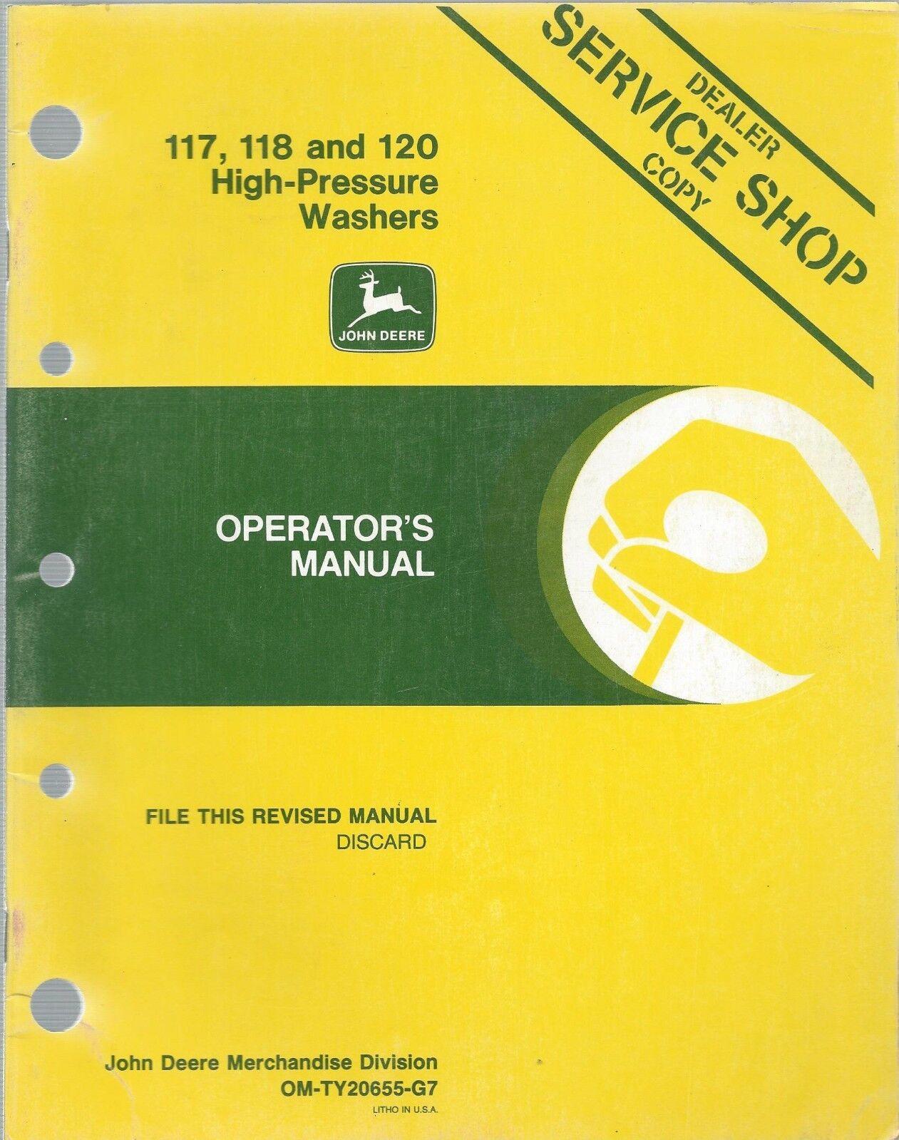 John Deere 117 118 120 High Pressure Washer Operator Manual Om-ty20655 G7 |  eBay