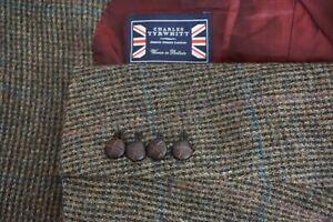 Charles-Tyrwhitt-Multicolor-Blue-Windowpane-Tweed-Woven-Wool-Sport-Coat-Sz-42S